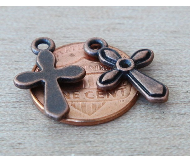 19mm Simple Cross Charms, Antique Copper, Pack of 10