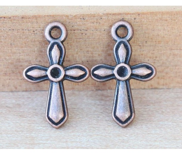 19mm Simple Cross Charms, Antique Copper