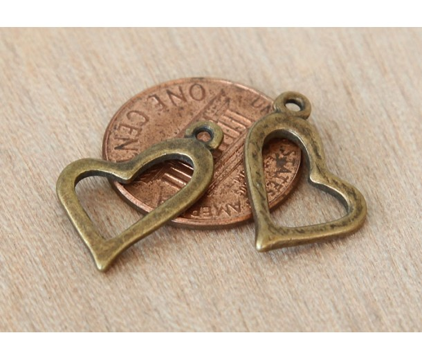 20mm Fancy Heart Charms, Antique Brass, Pack of 10