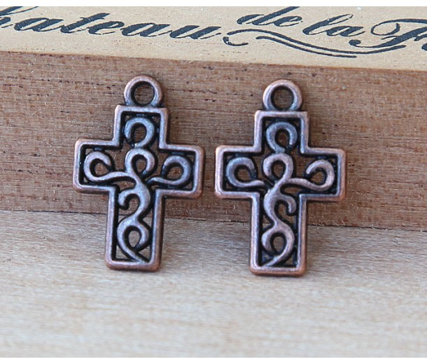 17mm Small Ornate Cross Charms, Antique Copper, Pack of 10