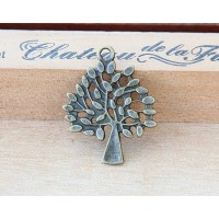 29mm Tree of Life Charms, Antique Brass, Pack of 5
