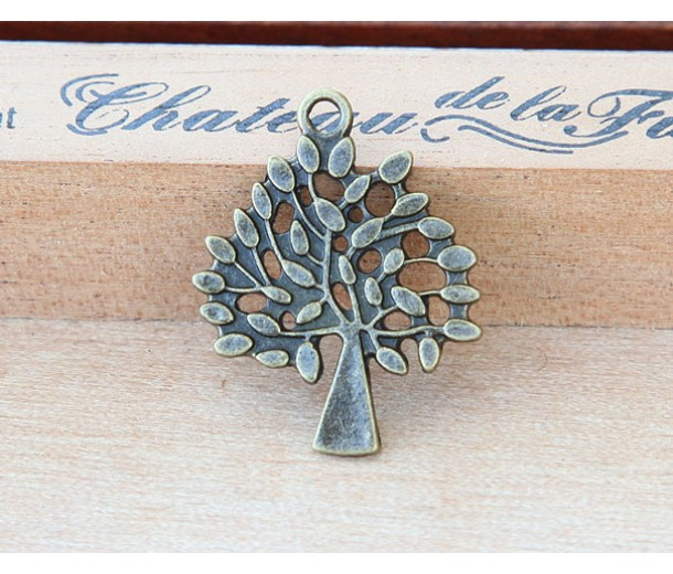 29mm Tree of Life Charms, Antique Brass
