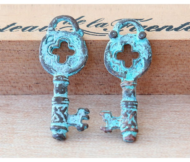 32mm Ancient Greek Style Key Charms, Green Patina, Pack of 2