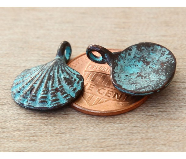 18x15mm Scallop Shell Charms, Green Patina, Pack of 4