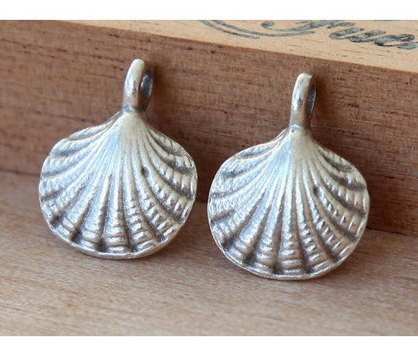 18x15mm Scallop Shell Charms, Antique Silver