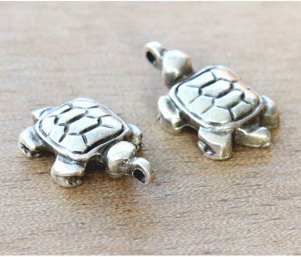 25x15mm 3D Turtle Charms, Antique Silver, Pack of 2