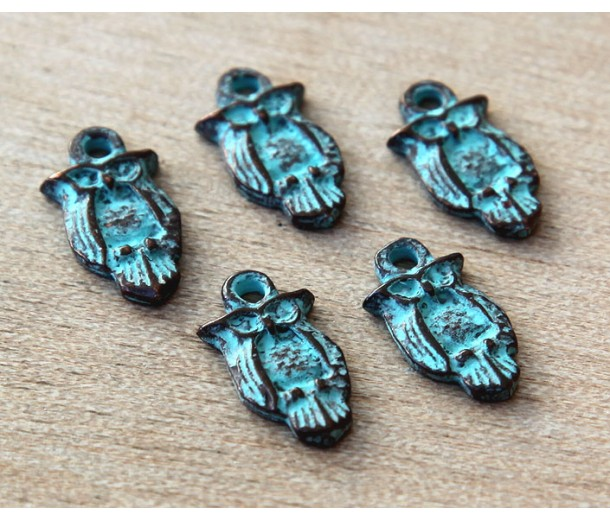 16x8mm Small Owl Charms, Green Patina, Pack of 6