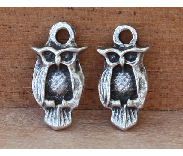 16x8mm Small Owl Charms, Antique Silver, Pack of 6