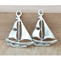 20x16mm Sailboat Charms, Antique Silver, Pack of 5