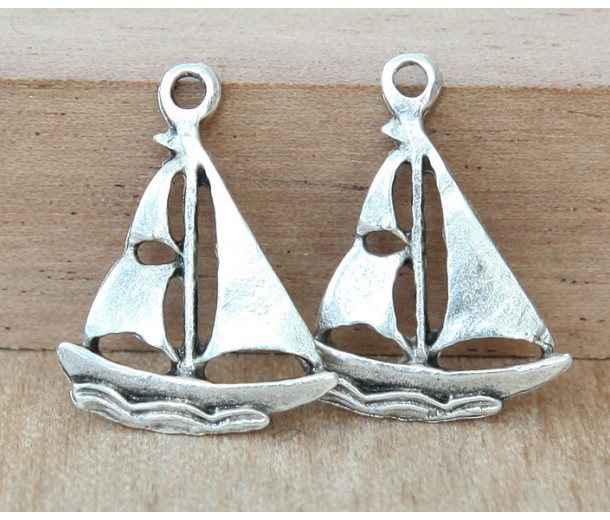 20x16mm Sailboat Charms, Antique Silver