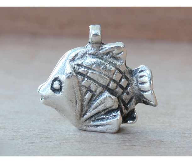 20mm 3D Fish Charm, Antique Silver, 1 Piece