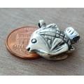 20mm 3D Fish Charm, Antique Silver, 1 Piece
