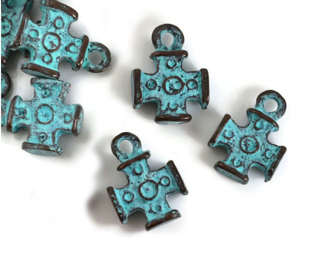 16mm Maltese Cross Charms, Green Patina