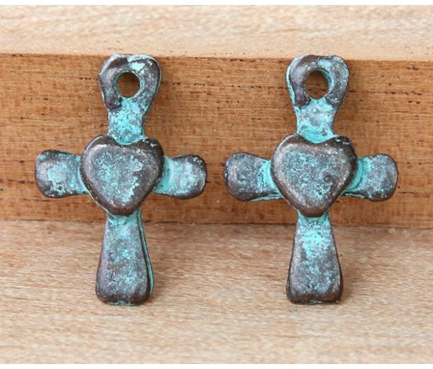 20mm Small Cross Charms, Green Patina