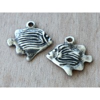 28mm Greek Fish Charm, Antique Silver