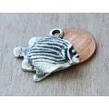 28mm Greek Fish Charm, Antique Silver, 1 Piece