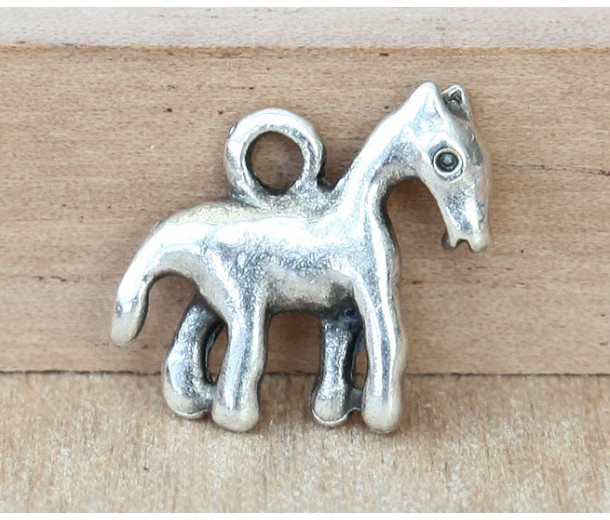 16x18mm Primitive Horse Charms, Antique Silver