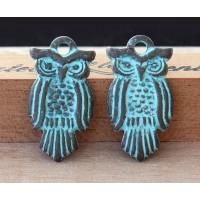 30x15mm Flat Owl Charm, Green Patina