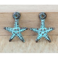 18mm Starfish Charms, Green Patina, Pack of 5