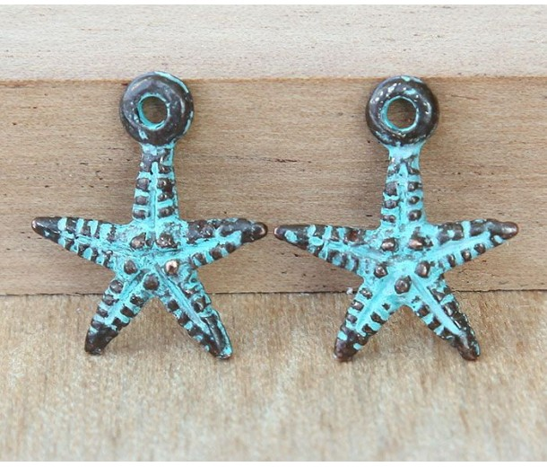 19mm Starfish Charms, Green Patina
