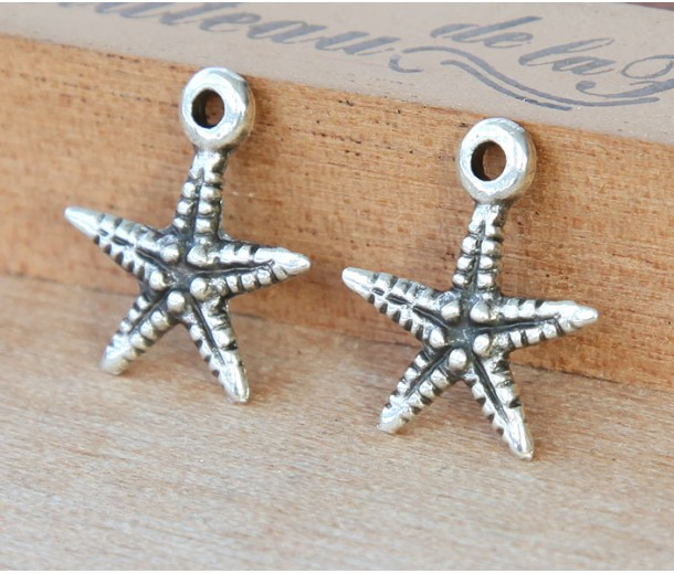 19mm Starfish Charms, Antique Silver