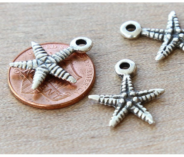 18mm Starfish Charms, Antique Silver, Pack of 5