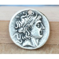 26mm Alexander Coin Charm, Antique Silver, 1 Piece