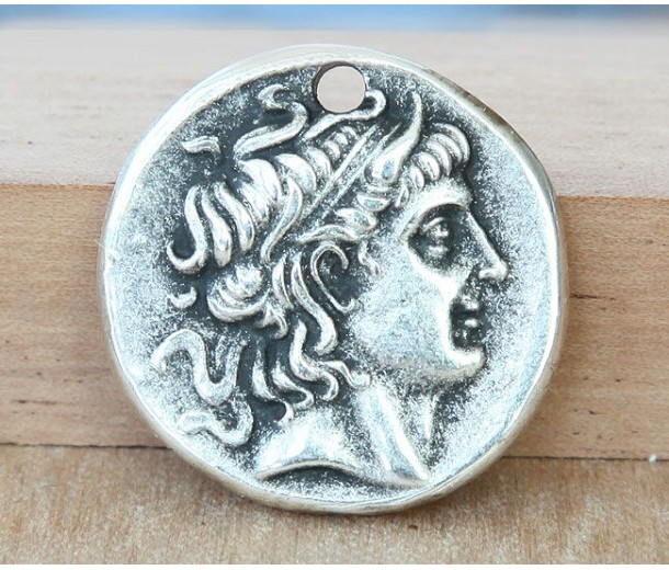 26mm Alexander Coin Charm, Antique Silver, 1 Piece
