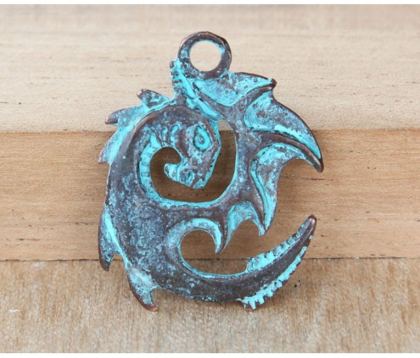 30x25mm Spiral Dragon Charm, Green Patina, 1 Piece