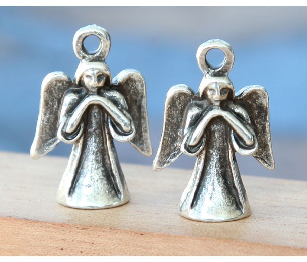 21x14mm 3D Angel Charm, Antique Silver, 1 Piece