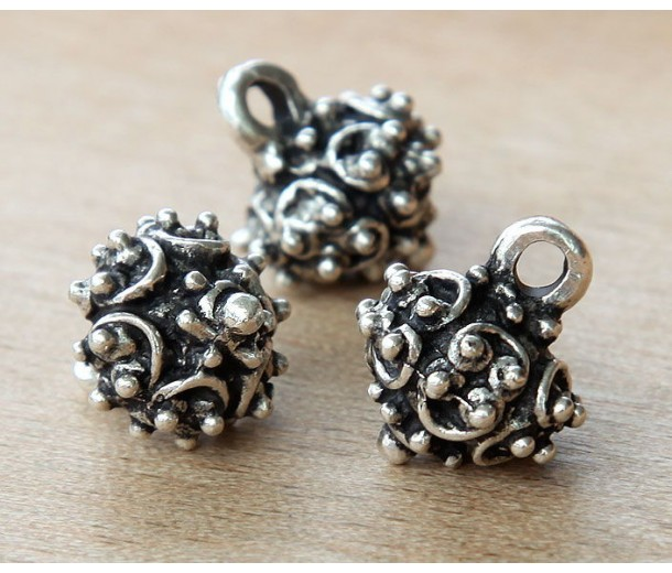 17x14mm Ornate Drop, Antique Silver