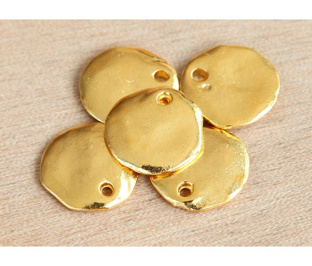 18mm Cornflake Disk Charms, Gold Plated