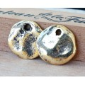 18mm Cornflake Disk Charms, Antique Gold Plated, Pack of 4