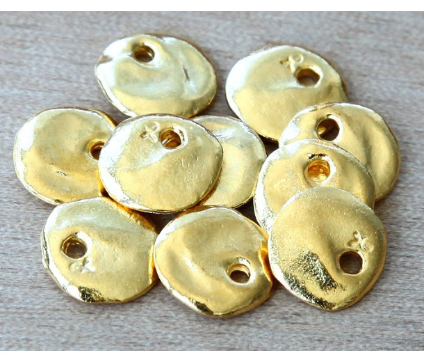 12mm Cornflake Disk Charms, Gold Plated