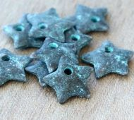 14mm Star Charms, Green Patina