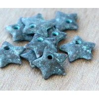 14mm Star Charms, Green Patina, Pack of 8