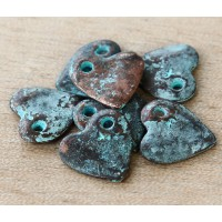 16mm Heart Charms, Green Patina