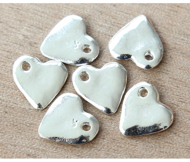 16mm Heart Charms, Silver Plated