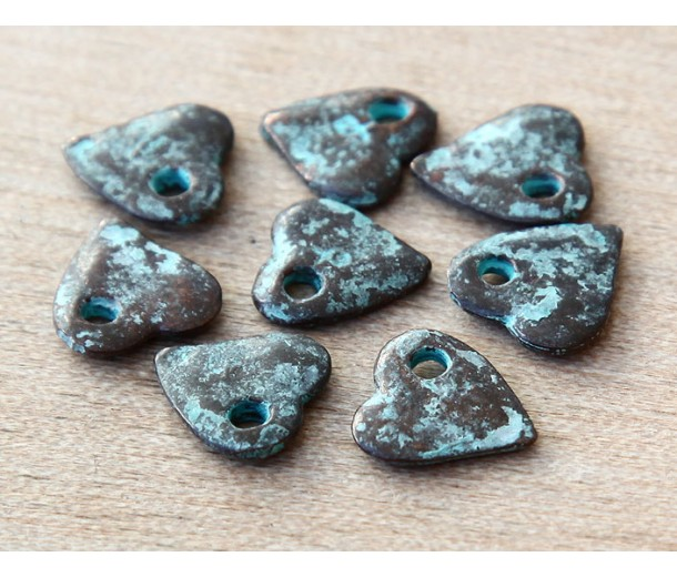 10mm Small Heart Charms, Green Patina