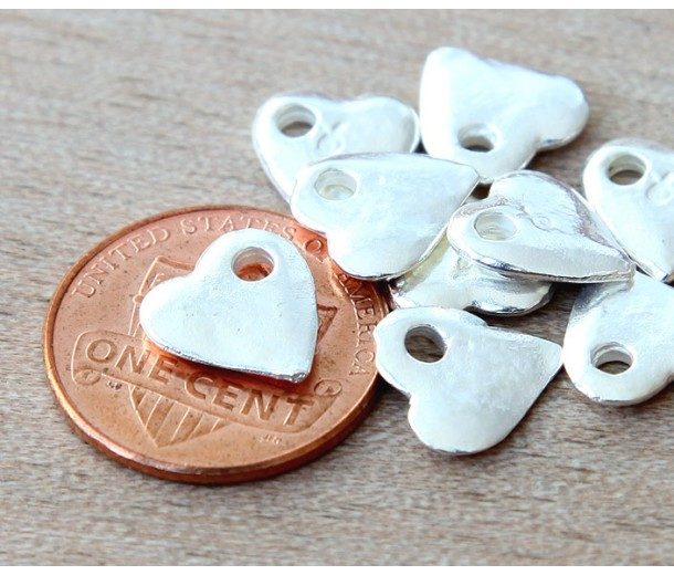 10mm Small Heart Charms, Silver Plated