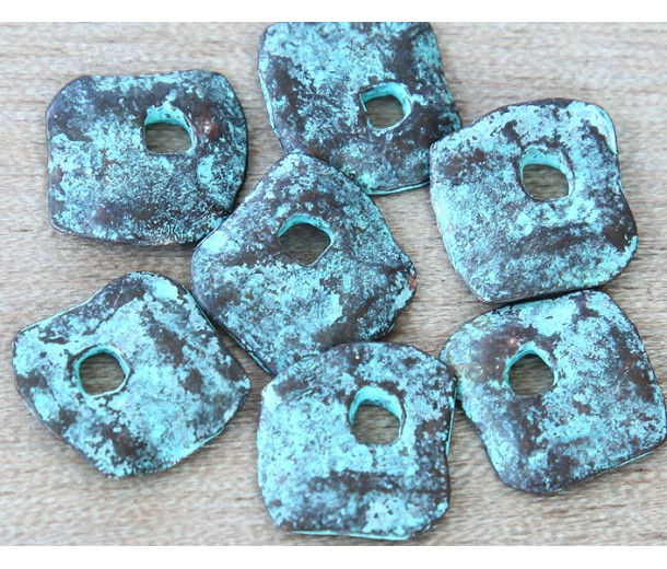 15mm Diamond Shaped Rustic Charms, Green Patina, Pack of 4