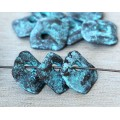 15mm Diamond Shaped Rustic Charms, Green Patina, Pack of 6