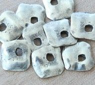 15mm Diamond Shaped Rustic Charms, Antique Silver