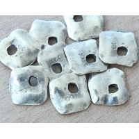15mm Diamond Shaped Rustic Charms, Antique Silver, Pack of 6