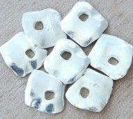 15mm Diamond Shaped Rustic Charms, Silver Plated