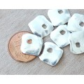 15mm Diamond Shaped Rustic Charms, Silver Plated, Pack of 6