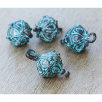 20x10mm Ornate Drop with Bale, Green Patina, 1 Piece