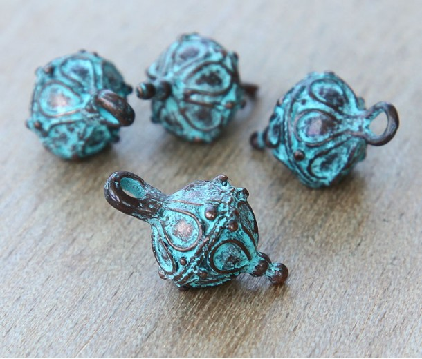 20x10mm Ornate Drop with Bale, Green Patina