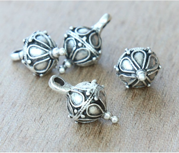 20x10mm Ornate Drop with Bale, Antique Silver