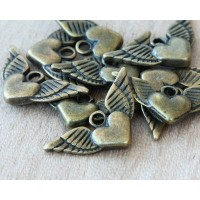 25mm Winged Heart Charms, Antique Brass, Pack of 10